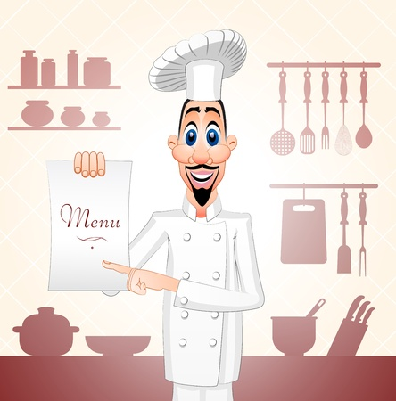 Cheff of the restaurant showing a menu Vector