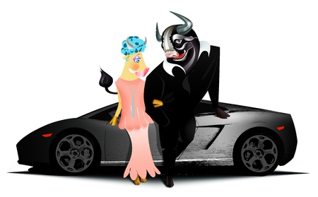 dangerous love: Black bull and his girlfriend standing in front of fast car