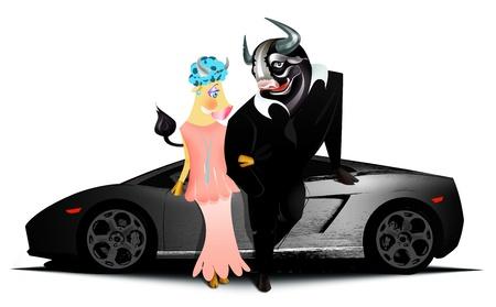 dangerous love: Black Bull e la sua ragazza in piedi di fronte a fast car