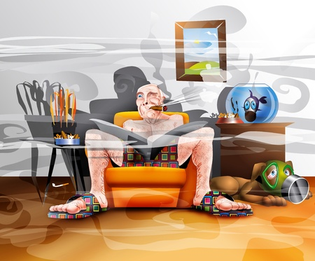 cigarettes: The smoker in a smoky living room with his pets who are troubled by his smoking Stock Photo