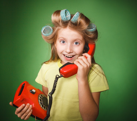 sobbing: crazy little girl hosewife screaming into the phone Stock Photo