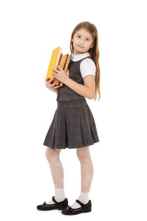 primary: school girl with books Stock Photo
