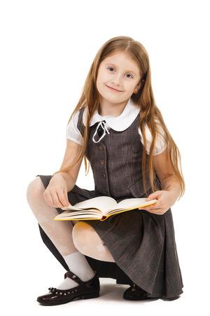 本で学校の女の子 写真素材
