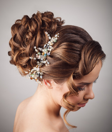 wedding hairstyle: Beauty wedding hairstyle. Bride Stock Photo