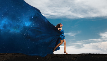 star night: Collage with woman in dress and space dress. Day and night. Stock Photo