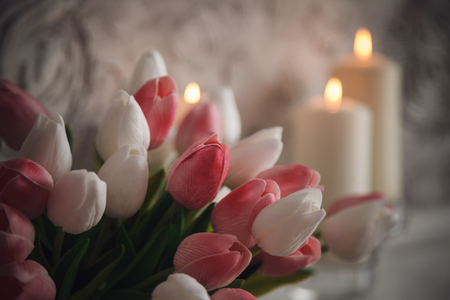 pilasters: Burning candles with pink and white tulips on grey background. Romantic. Stock Photo