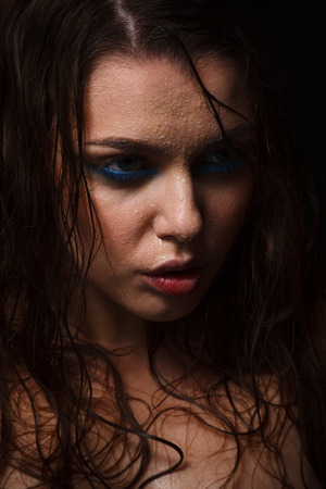 wet woman: Wet woman portrait with water drops on the face