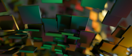 groundbreaking: Rapidly rotating shiny green metal rectangles. Abstract illustration. Stock Photo
