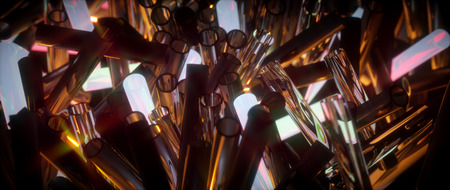 agleam: Glowing translucent fragile glass tubes. Abstract illustration. Stock Photo
