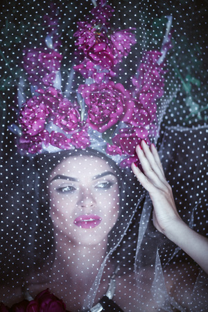 Beautiful woman with crown lying under tulle. Stock Photo