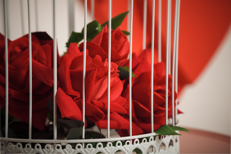 honeymoon suite: birdcage with red roses