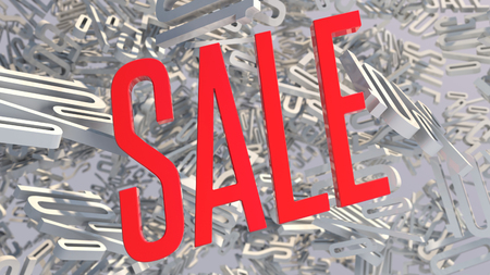 3d red sale word on white background with shadow. 3D rendering.