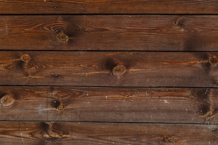 Texture of old wood floor with nails with irregularities and scratches.