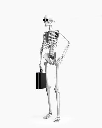 intensity:  skeletont businessman over the white background (3d)