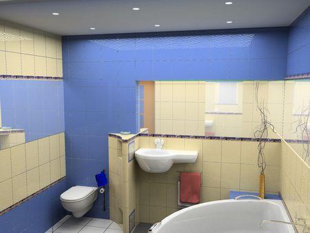 sinks: design of the modrn bath room interior (3D)