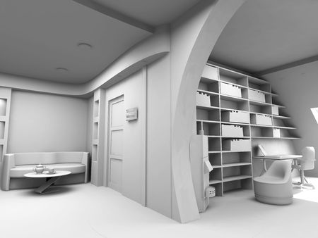 eclecticism: design of the modern blank interior(3D)