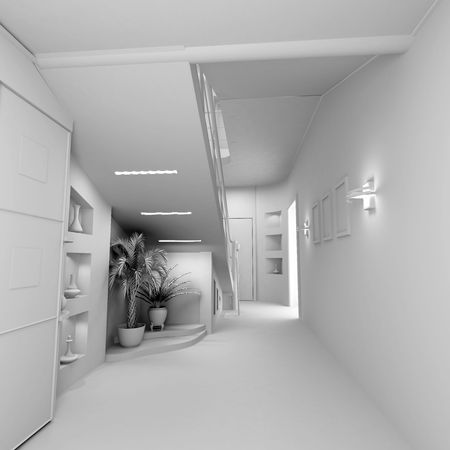 privat:  blank modern interior of the privat apartment (3d)