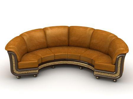 brown leather sofa: Sof� di cuoio marrone sopra i precedenti bianchi Archivio Fotografico