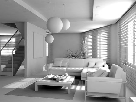 eclecticism:  blank modern interior of the privat apartment (3d)