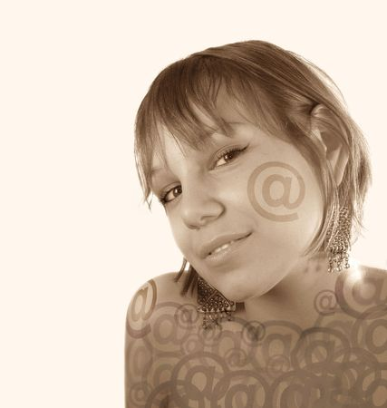email girl face over the light background (sepia) Stock Photo - 727250