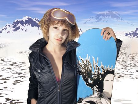 girl with snowboard over the mountain background Stock Photo - 736750
