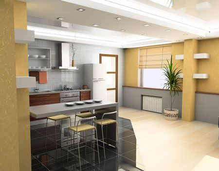eclecticism: the modern kitchen interior design (3D rendering) Stock Photo