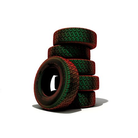 tyres over the white background (3D)