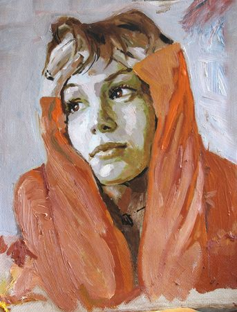 colourful girl portrait in oil painting manere Stock Photo - 769278
