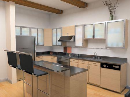 the modern kitchen interior design (3D rendering) photo
