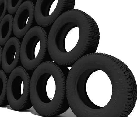 invented: tyres over the white background 3D (all names are Invented) Stock Photo