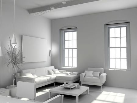 eclecticism: blank modern  interior design (computer generated image 3D) Stock Photo