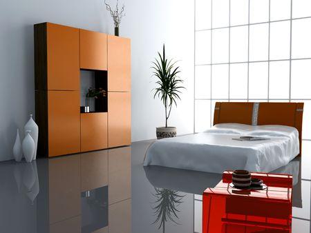 modern bedroom interior design (computer - generated image) Stock Photo - 873741