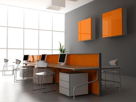 mobiliario de oficina: la moderna oficina de dise�o de interiores (3d render)