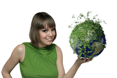 smiling girl portrait with green earth planet at the hand photo