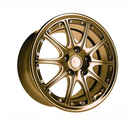 close-up golden car rim over the white background