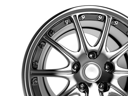 close up rendering part of chrome car rim (3d) Stock Photo