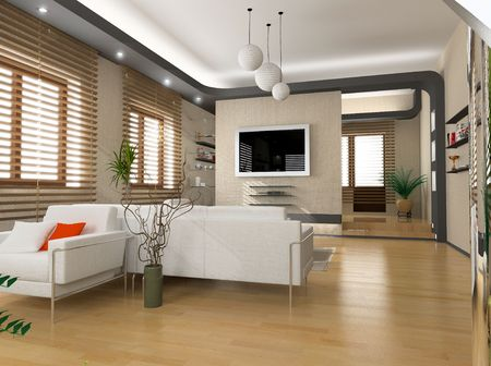 eclecticism: modern interior design (privat apartment 3d rendering) Stock Photo