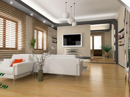 modern interior design (privat apartment 3d rendering) Stock Photo - 950170