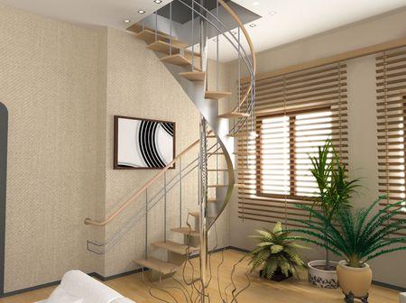 eclecticism: modern interior design (private apartment 3d rendering)