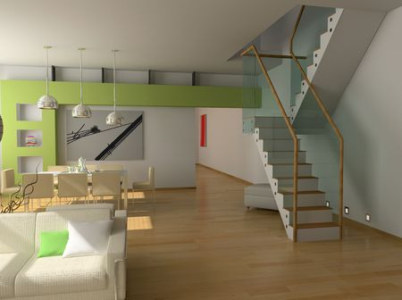 eclecticism: modern interior design (private apartment 3d rendering)