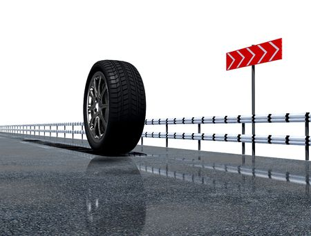 wheel on the asphalt road over the white background Stock Photo