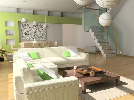 modern inter design (private apartment 3d rendering) Stock Photo - 1063980