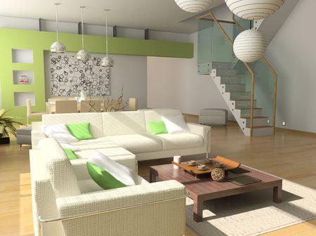 modern interior design (private apartment 3d rendering) Stock Photo - 1063980