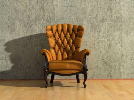 brown royal vintage armchair in grey room (3D rendering) Stock Photo - 1148654