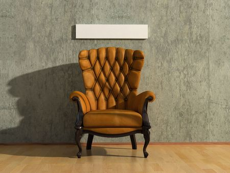 brown royal vintage armchair in grey room  with free space for text(3D rendering) Stock Photo - 1148655