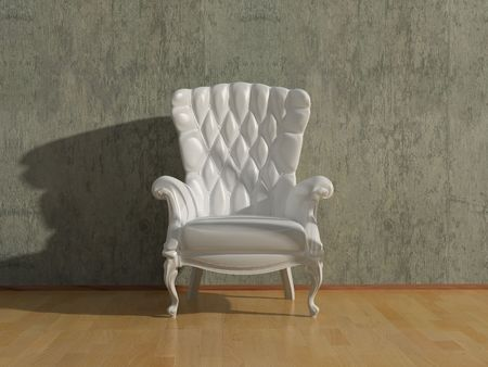 blank royal vintage armchair in grey room  with free space for text(3D rendering) Stock Photo - 1148656