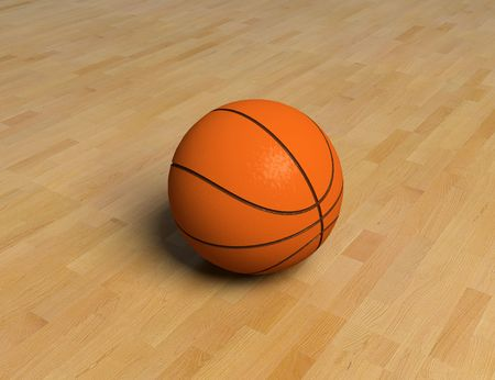 nba: basketball game ball over the hardwood floor (3D) Stock Photo