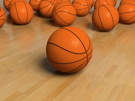 nba: basketball game bal over the white bachground (3D)