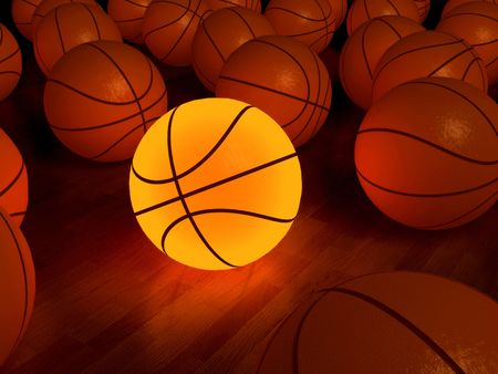 nba: basketball glow game ball over the hardwood floor (3D)