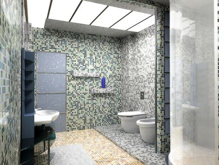 modern bathroom interior (3d rendering) Stock Photo - 1223044